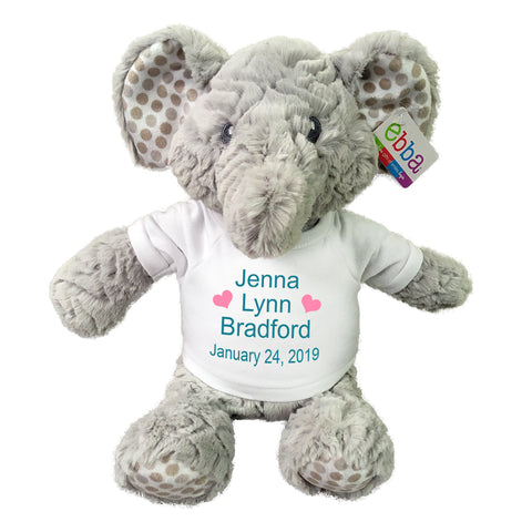 "Personalized Stuffed Elephant - 14 inch ""Elefunt"" - Ebba Baby Plush Collection"