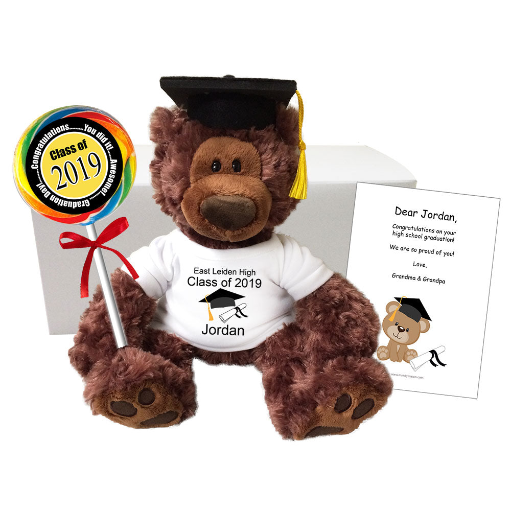 "Personalized Graduation Teddy Bear Class of 2019 Gift Set - 12"" Gund  Brown Philbin Bear"