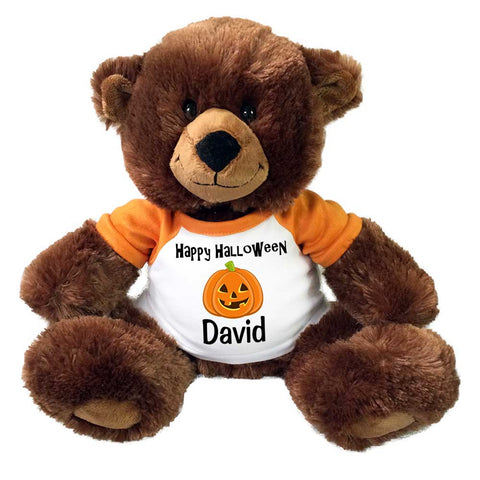 "Personalized Halloween Teddy Bear - 14"" Brown Buxley Bear"