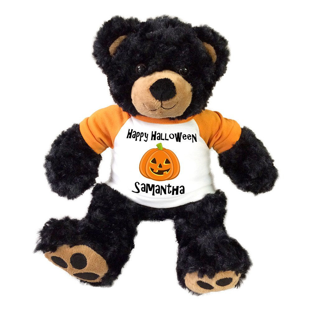"Personalized Halloween Teddy Bear - 13"" Black Vera Bear"