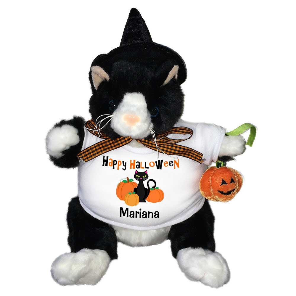 Personalized Halloween Plush Black Cat With Witch Hat Say It With