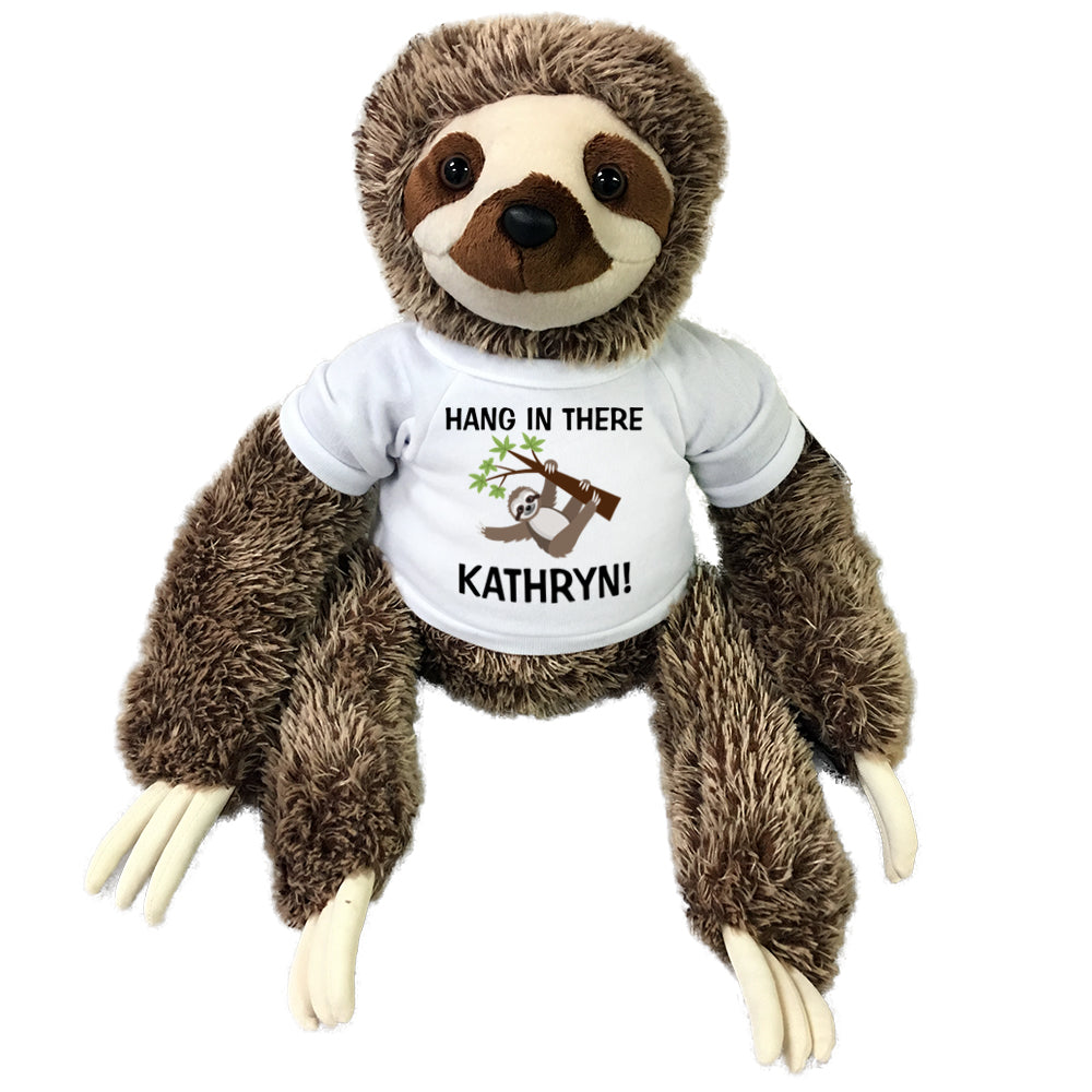 Hang In There Personalized Stuffed Sloth - 15 inch Aurora Plush