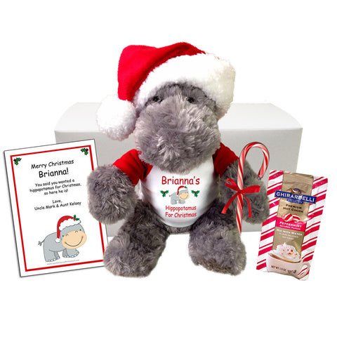 Hippopotamus For Christmas Personalized Stuffed Animal Gift Set