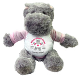 "Hippo Sized Hugs  -  Personalized 12"" Stuffed Hippopotamus for Valentines or Love - Pink"