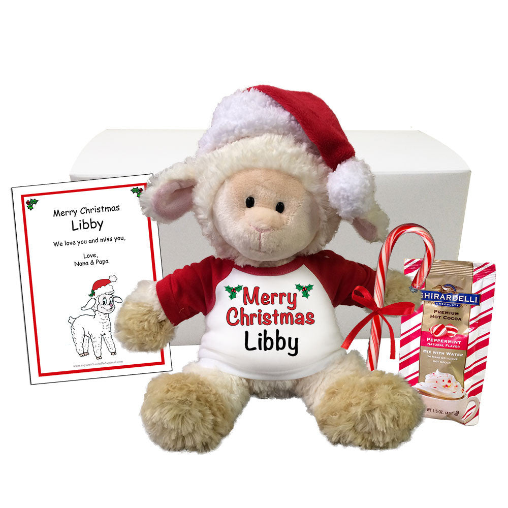 "Personalized Christmas Lamb Stuffed Animal Gift Set - 12"" Tubby Wubby Lamb"
