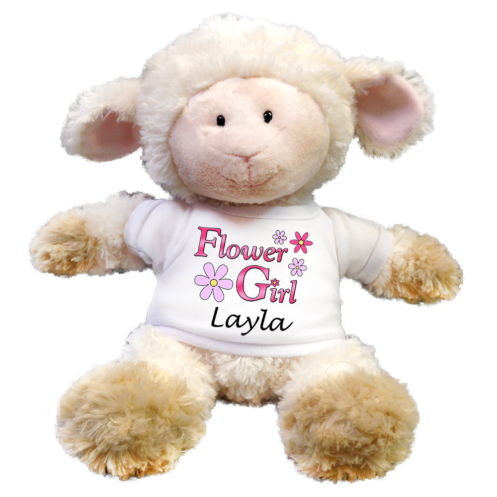 "Personalized Flower Girl Lamb - 12"" Stuffed Lamb"