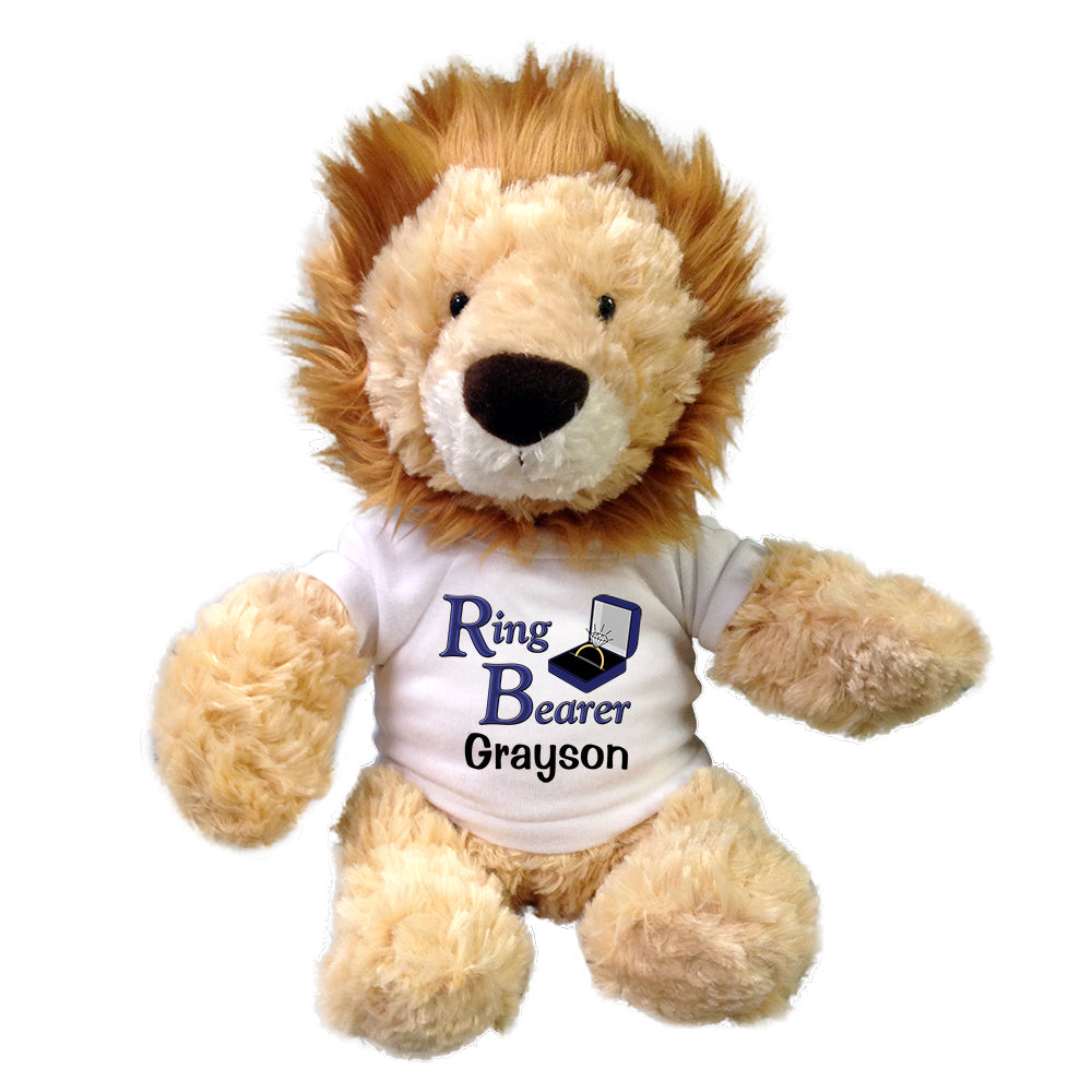"Personalized Ring Bearer Lion - 12"" Stuffed Lion"