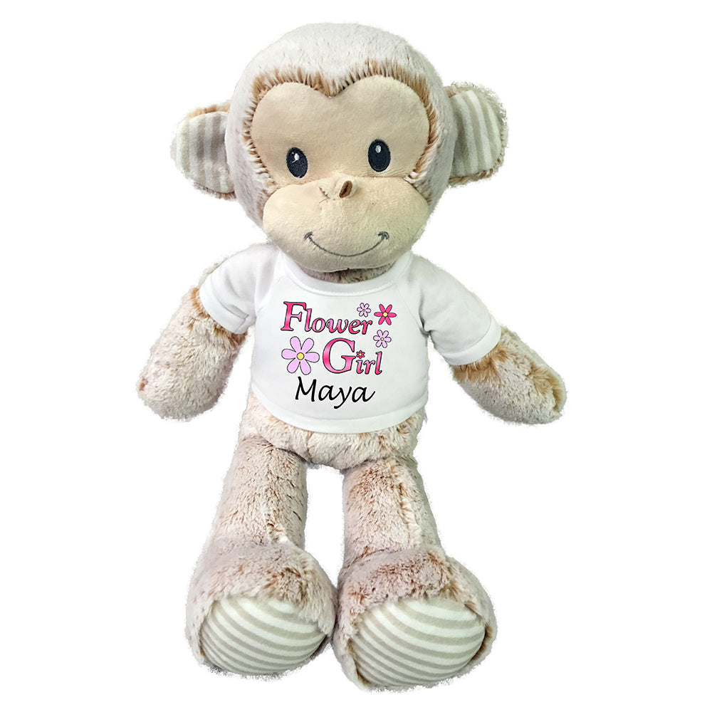 "Personalized Flower Girl Stuffed Monkey - 20"" Plush Marlow Monkey"
