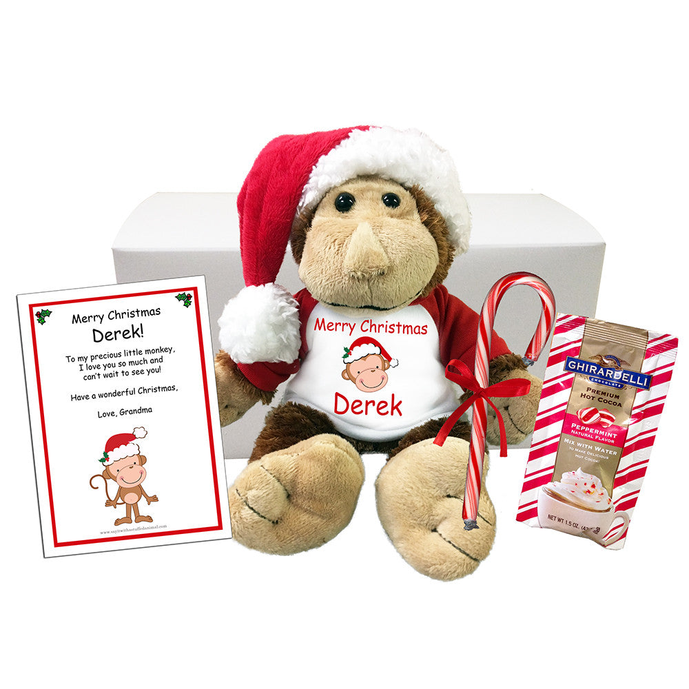 "Personalized Christmas Monkey Stuffed Animal Gift Set - 12"" Plush Monkey"