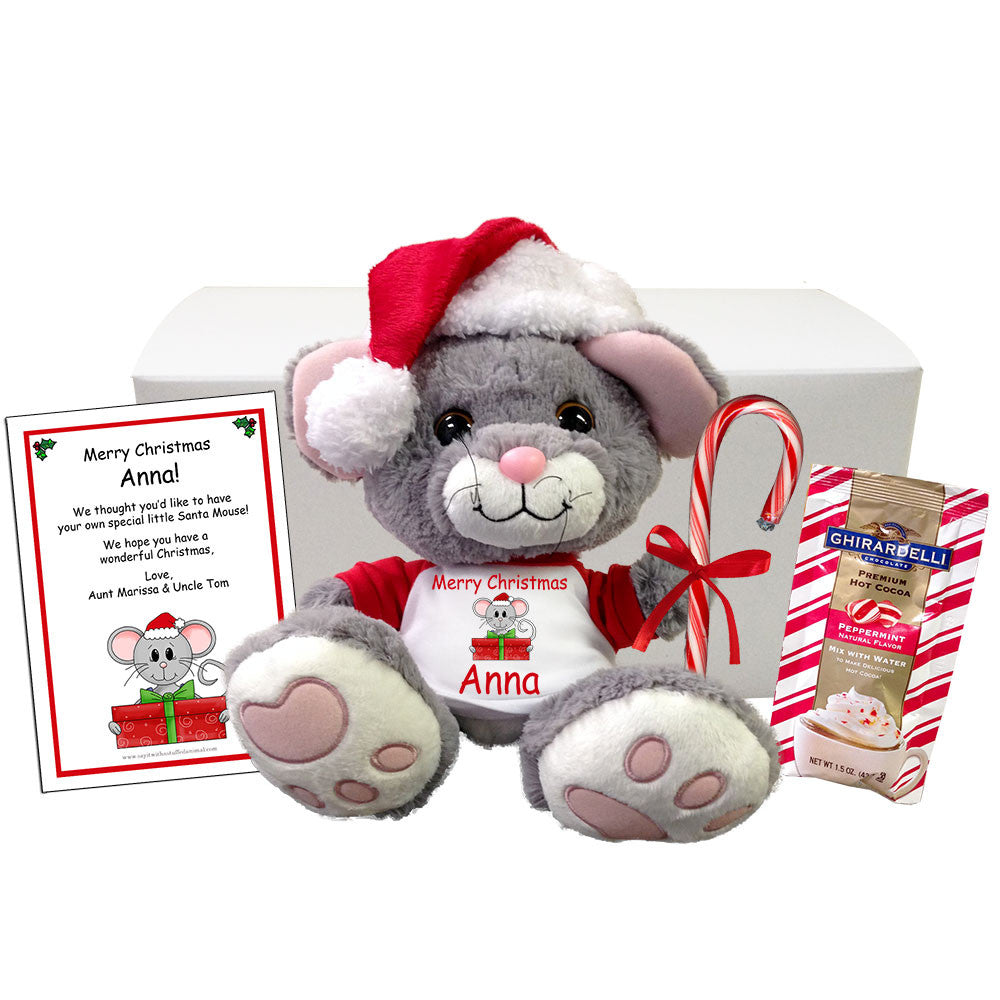 Personalized Plush Mouse Christmas Stuffed Animal Gift Set