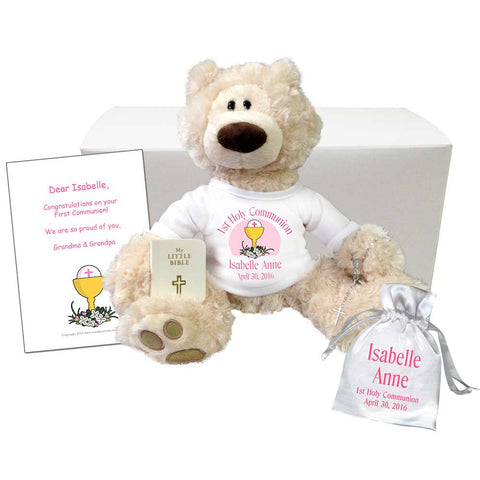 Personalized First Communion Teddy Bear Gift Set - Gund Beige Philbin Bear