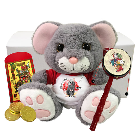 "Year of the Rat 2020 Chinese New Year Stuffed Animal Gift Set - 10"" Scurry Mouse"