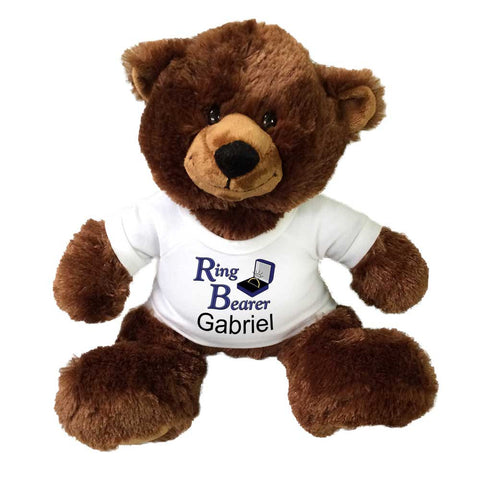 "Personalized Ring Bearer Teddy Bear - 14"" Buxley Bear"