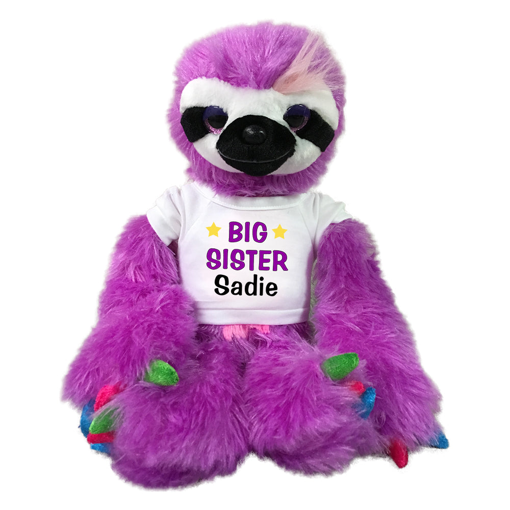 "Personalized Big Sister Sloth - Personalized 15"" Purple Sloth"