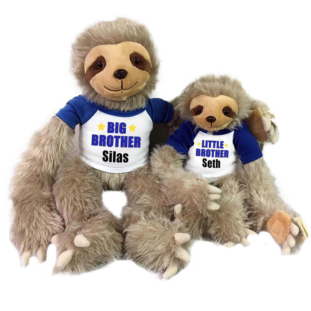 "Big Brother / Little Brother Personalized stuffed Sloths - Set of 2 Tan sloths, 18"" and 12"""