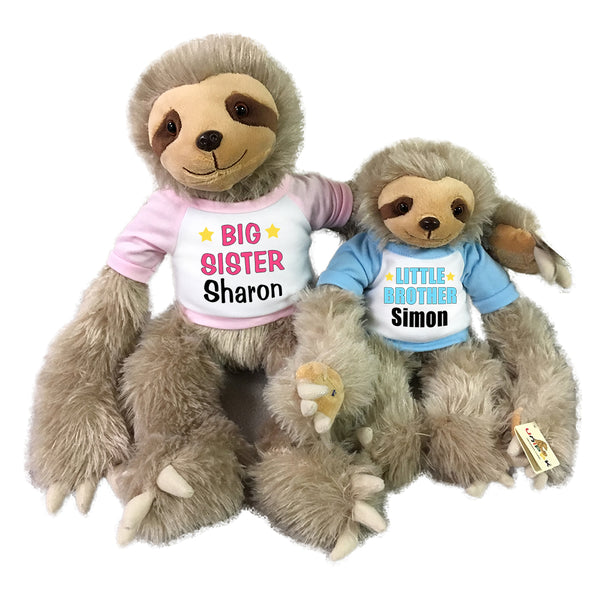 Big Sister Little Brother Personalized Stuffed Sloths