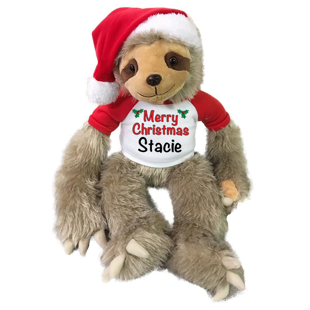 Personalized Christmas Sloth - 18 Inch Tan Sloth with Santa Hat