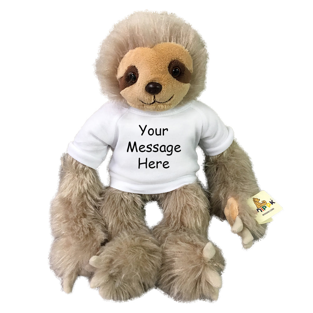 Personalized Stuffed Sloth - 12 inch Small Tan Plush Sloth