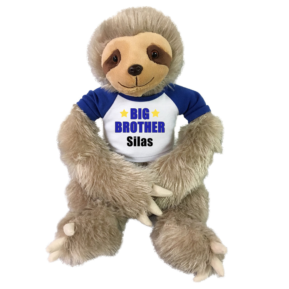 "Personalized Big Brother Sloth - Personalized 18"" Tan Plush Sloth"