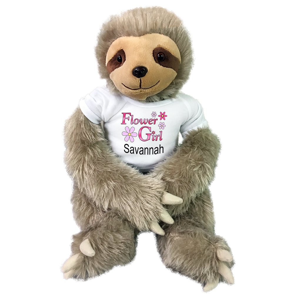 "Personalized Flower Girl Sloth - 18"" Plush Tan Sloth"