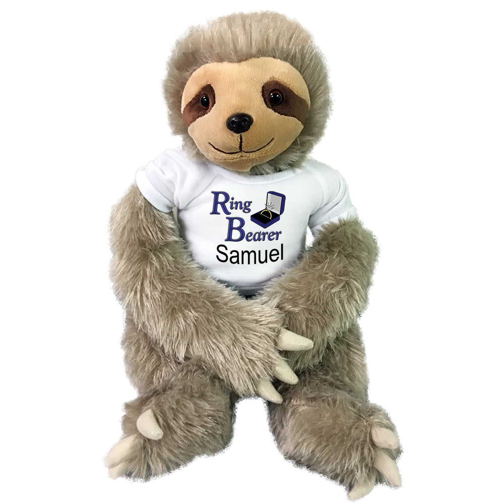 "Personalized Ring Bearer Sloth - 18"" Plush Tan Sloth"