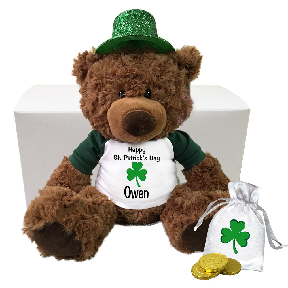 "St. Patrick's Day Teddy Bear Personalized Gift Set - 13"" Coco Bear"