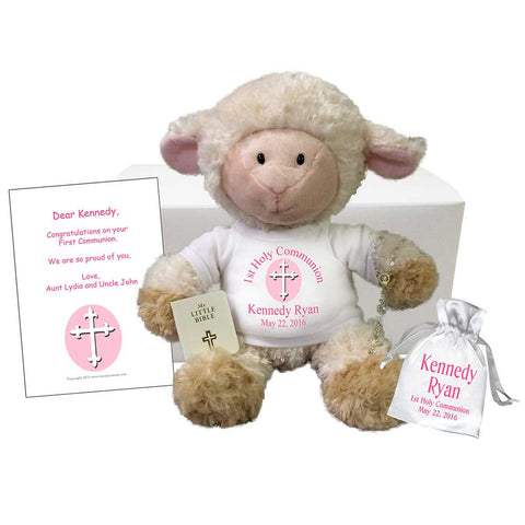 First Communion Lamb Personalized Stuffed Animal Gift Set