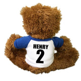 Personalized back of your baseball teddy bear with player's name and number