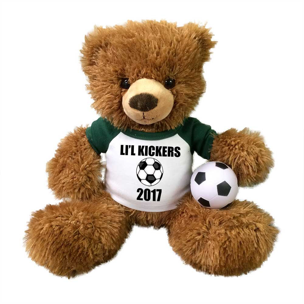 "Soccer Teddy Bear - Personalized 14"" Brown Tummy Bear"