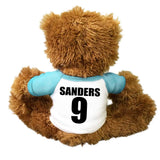 Personalize the back of your basketball teddy bear with player's name and number