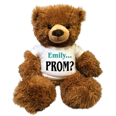 "Personalized Prom Teddy Bear - 14"" Brown Fuzzy Bear"