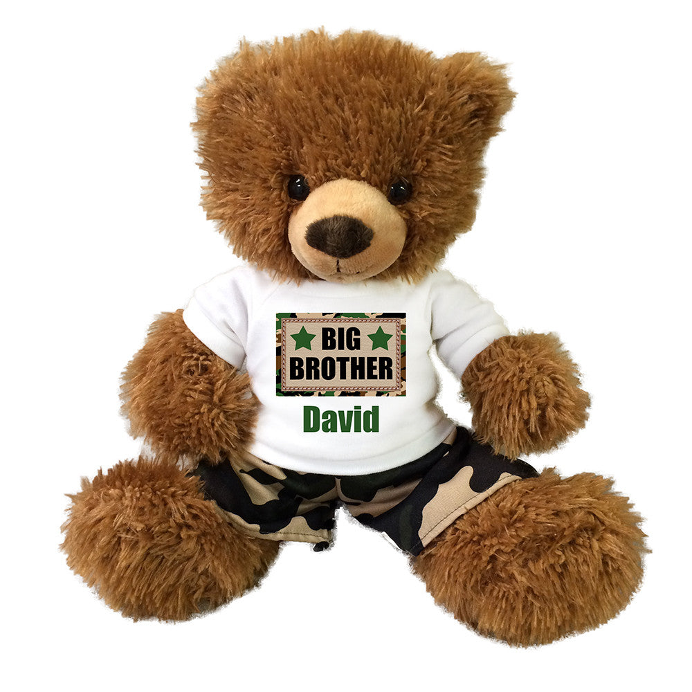 "Big Brother Teddy Bear - Personalized 14"" Brown Tummy Bear with Camo Pants"