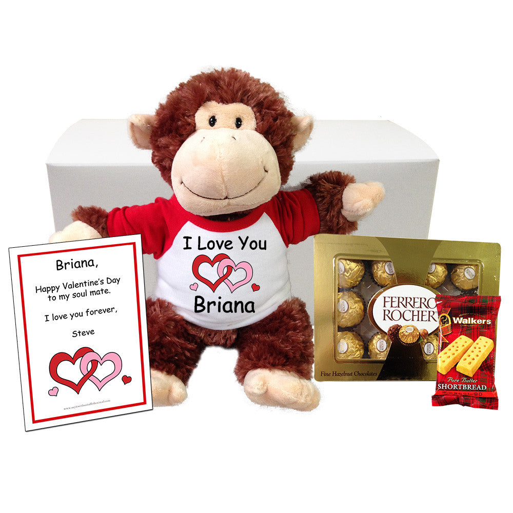 "Personalized Valentine Chimp Stuffed Animal Gift Set - 12"" Plush Monkey"