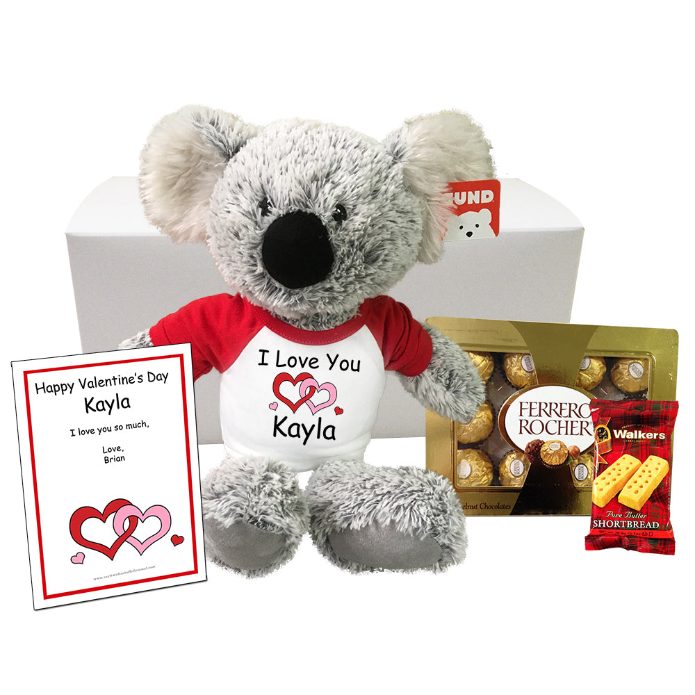 "Personalized Stuffed Koala Valentine Gift Set - 12"" Gund Koala"