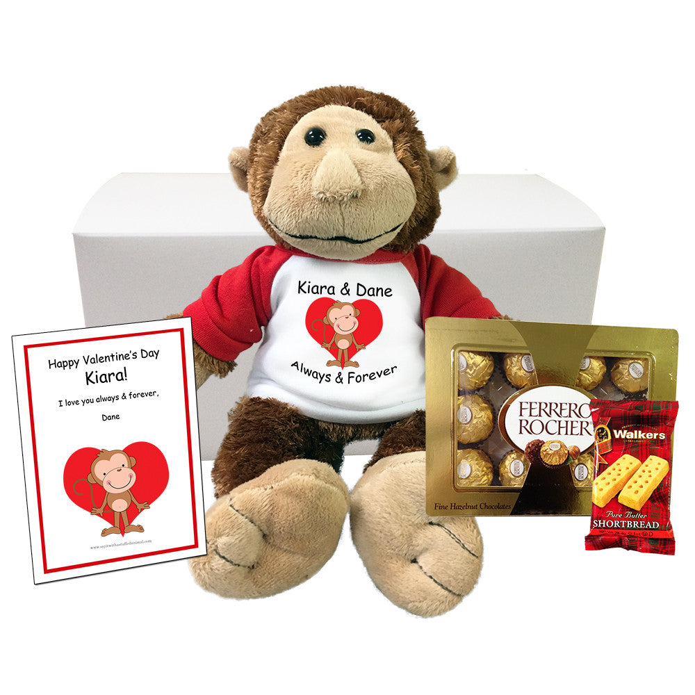 "Personalized Valentine Monkey Stuffed Animal Gift Set - 12"" Plush Monkey"