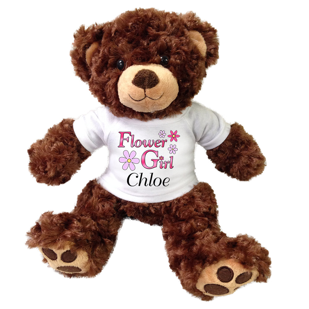"Personalized Flower Girl Teddy Bear - 13"" Brown Vera Bear"