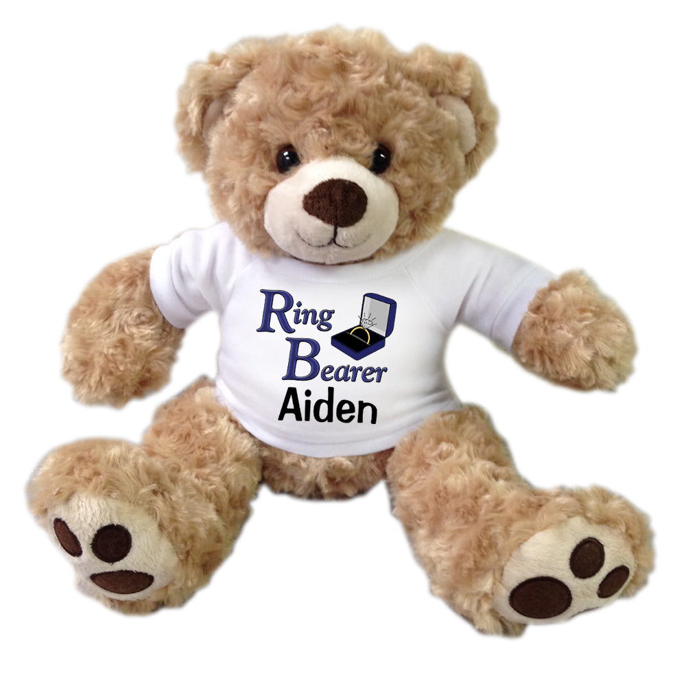 "Personalized Ring Bearer Teddy Bear - 13"" Honey Vera Bear"