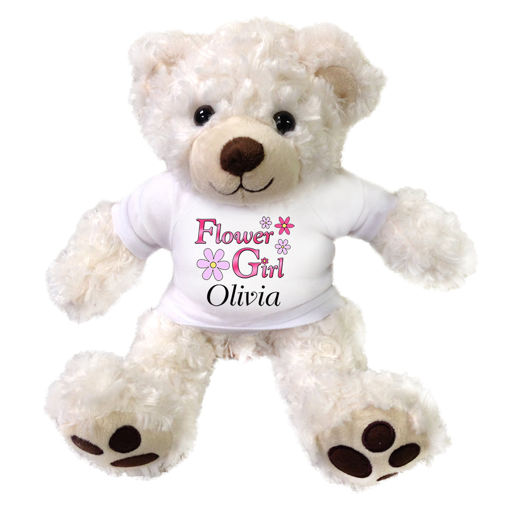 "Personalized Flower Girl Teddy Bear - 13"" White Vera Bear"