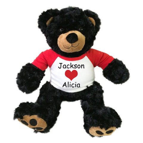 "Personalized Valentine Teddy Bear - 13"" Black Vera Bear"
