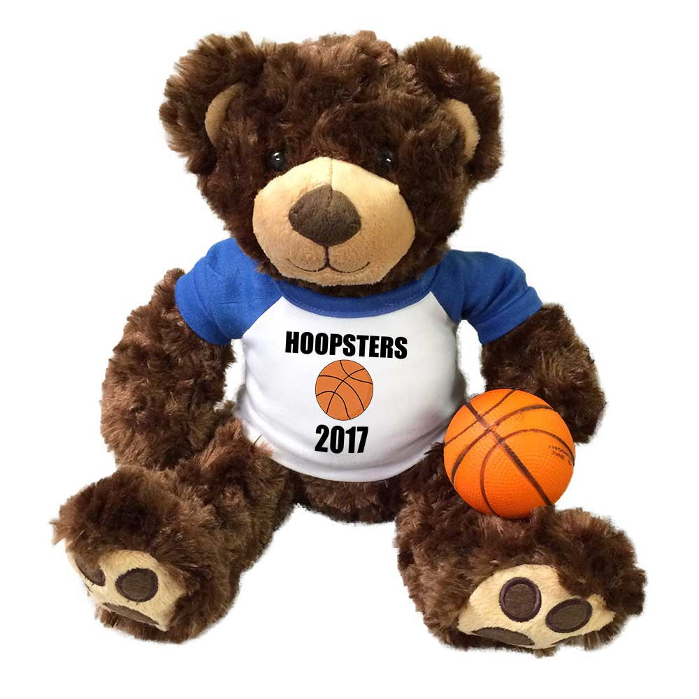"Basketball Teddy Bear - Personalized 13"" Brown Vera Bear"