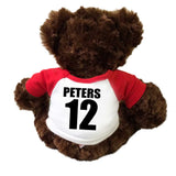 Personalized the back of your football teddy bear's shirt with player's name and number