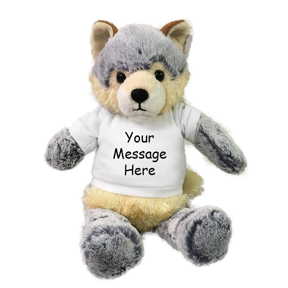 Personalized Stuffed Wolf - 11 inch Wryly Wolf