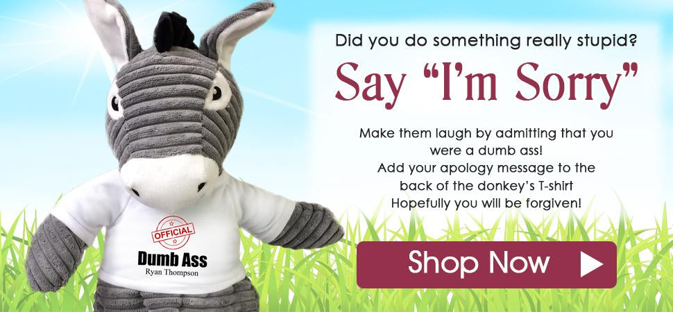 Say I'm Sorry with a Personalized Stuffed Dumb Ass Donkey!