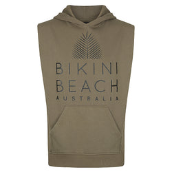 Sleeveless Hoodie Sweatshirt in Olive Green