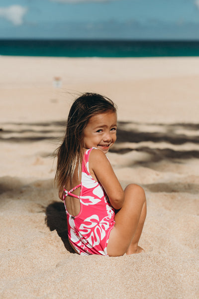 the pink aloha savannah mini suit by Ele Swims