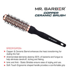 Mr.Barber Copper Ceramic Brush 25mm (Pack of 1)