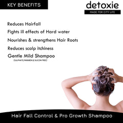 Detoxie Hard Water Relief, Hair Fall Control & Pro Growth Shampoo With Redensyl, Onion Oil, Apple Cider & Japanese Matcha 200ml