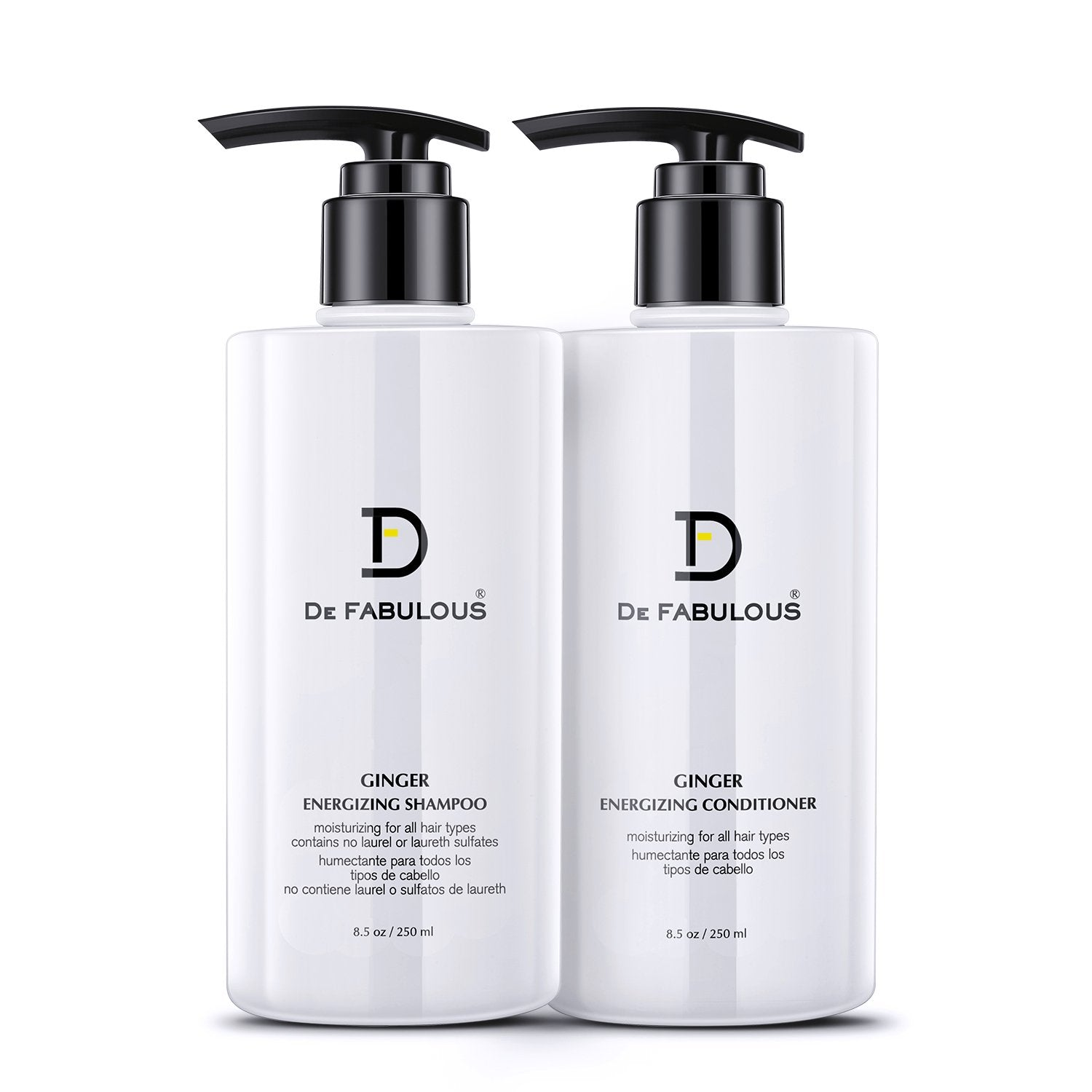De Fabulous Ginger Energizing Shampoo & Conditioner 250ml Each (Pack of 2)