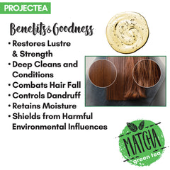 PROJECTEA Matcha Green Tea Damage Control Shampoo, 200ml | Anti Dandruff, Anti Hairfall | Amla, Shikakai, Hibiscus | All Hair Types | SLS & Parabens Free