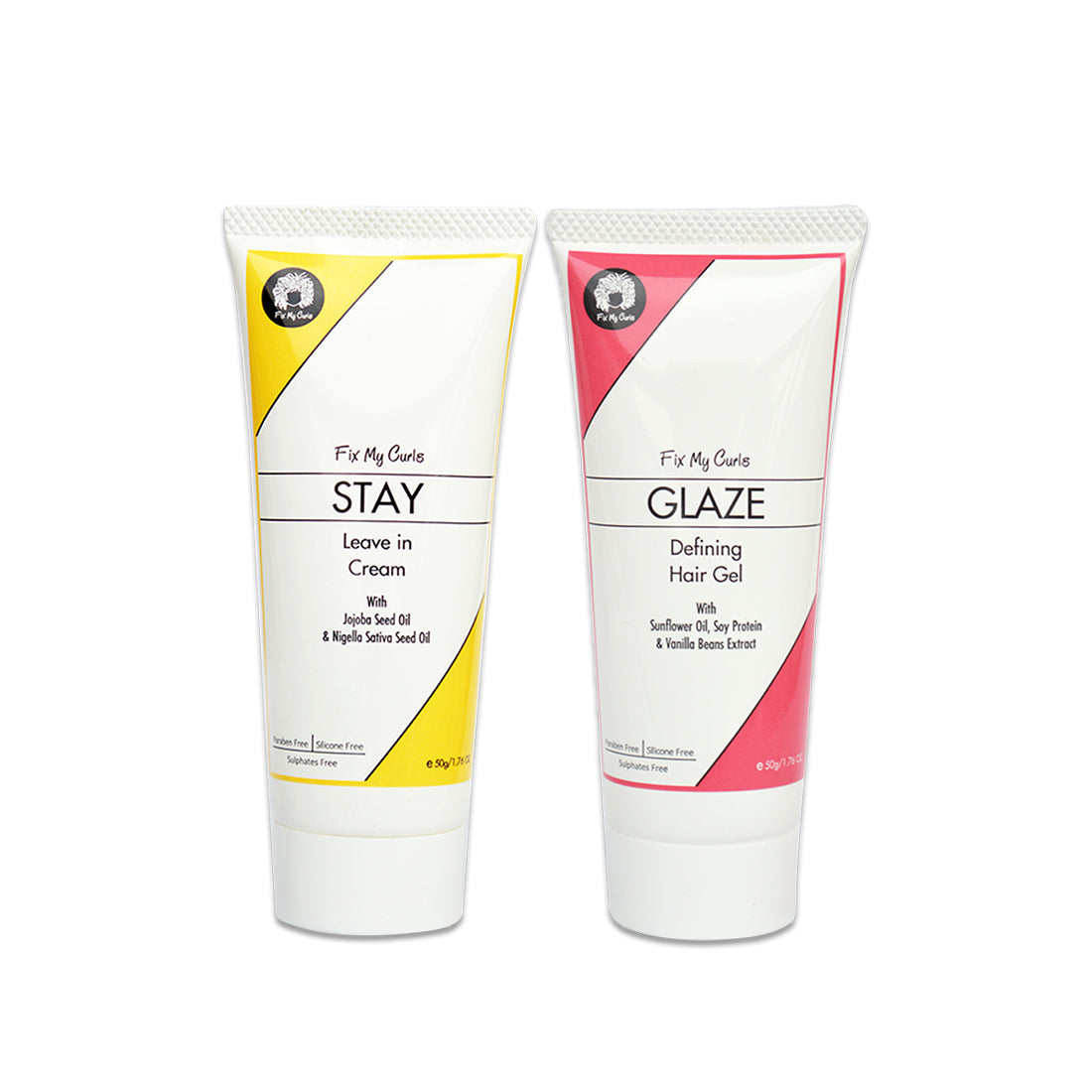 Fix My Curls Travel Size Styling Bundle with Glaze Hair Gel & Stay Leave In Cream 50g Each